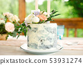 Wedding decoration table in the garden, floral arrangement, In the style vintage on outdoor. Wedding 53931274