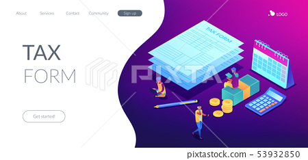 Tax form isometric 3D landing page. 53932850