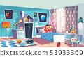 Little girl waking up in bedroom 53933369