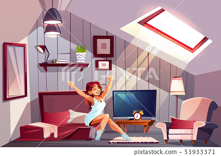 Woman waking up in attic bedroom 53933371