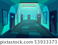 Modern office corridor at night cartoon 53933373