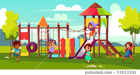 Kids playing on park playground cartoon 53933392