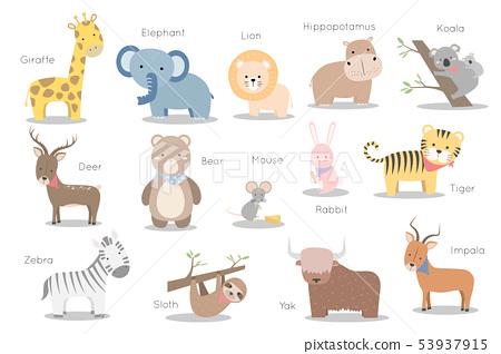 Cute animals set cartoon doodle element 53937915