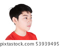 Close up Head of asian boy black hair front side 53939495