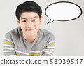 Photo of asian young happy boy looking at camera. 53939547