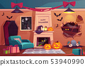 Halloween interior, empty scary vampire room. 53940990
