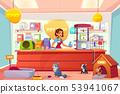 Buying animals in pet store cartoon vector concept 53941067