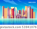 Mexico city skyline cartoon vector background with modern skyscrapers, historical buildings 53941076