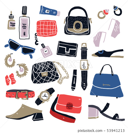 Hand drawn woman items and accessories 53941213