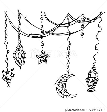 Ramadan kareem icon set sketch outline doodle 53941712