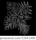 Vector hand drawn sketch with tropical leaves and 53941985