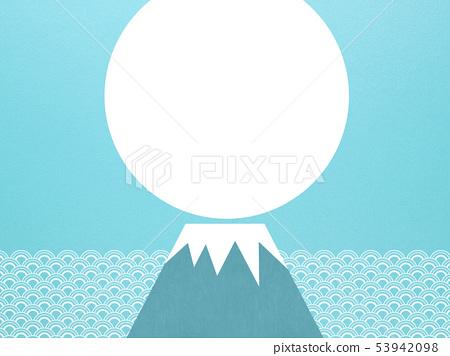 배경 - 일본 - 일본식 - 일본식 디자인 - 종이 - 여름 - 하늘색 - 파 - 후지산 53942098