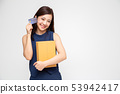 Happy Asian woman holding package parcel box ,card 53942417