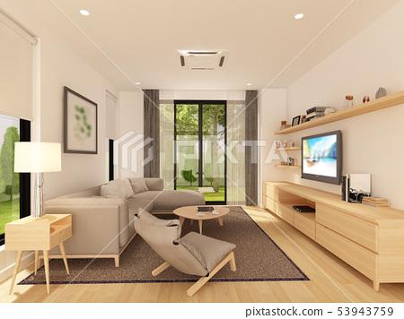 sketch design of living ,3d rendering 53943759