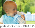 Funny toddler is drinking water from a bottle. It stands on a green lawn 53944735