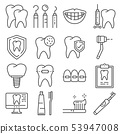 Line icons of dental care and dentist services 53947008