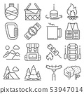 Line Camping and outdoor recreation icons set 53947014