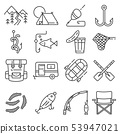 Fishing gray line vector illustration icon set. 53947021
