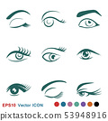Beautiful eye icon with eyebrow brush for logo 53948916