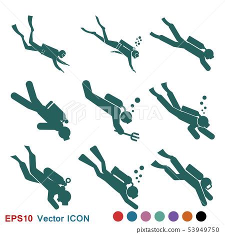 Scuba diver icon vector sign symbol for design 53949750