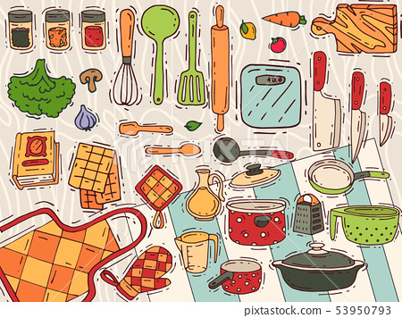 Cooking equipment vector kitchenware or cookware for food with kitchen utensil cutlery and plate 53950793