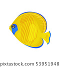 Yellow fish with blue spots. Vector illustration on white background. 53951948