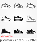 Sneakers icon vector sign symbol for design 53951969