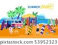 Information Poster Inscription Summer Camp Cartoon 53952323