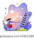 flat remote work in nature vector illustration. 53952389