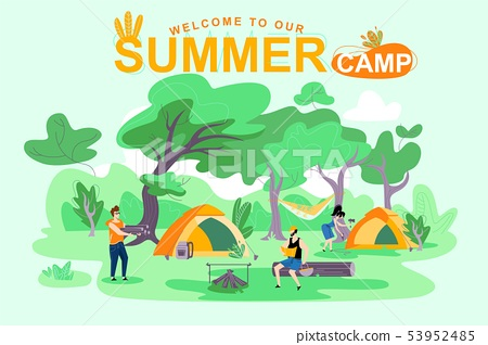 Poster Welcome to Our Summer Camp, Lettering. 53952485