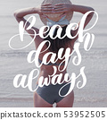 Woman in big hat stays on beach. Template for social networks instagram story. Hand drawn Motivation 53952505
