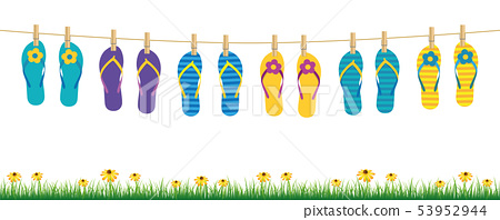 colorful flip flops hanging on a rope on white background with grass and flowers 53952944
