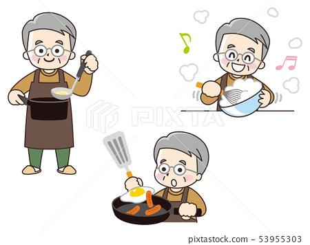 Senior men cooking 53955303