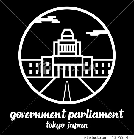 Circle icon line Government parliament of Japan 53955342