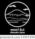Circle icon line mount fuji. vector illustration 53955346