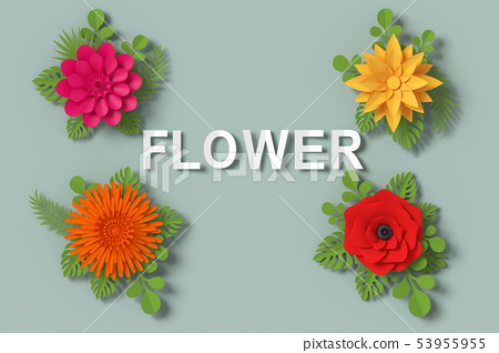 Flower paper style, colorful rose, clipping path. 53955955