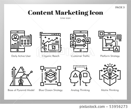 Content marketing icons Line pack 53956273