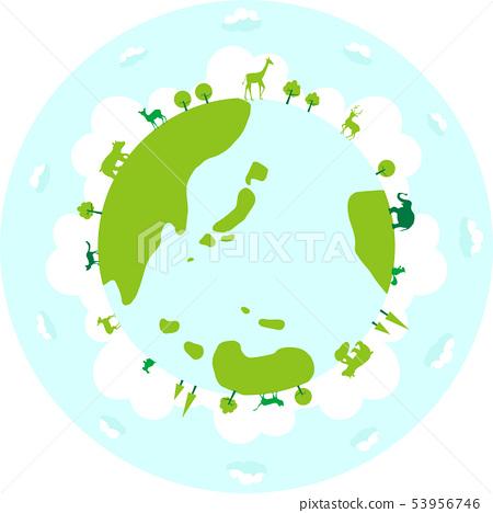 動物剪影地球例證 53956746