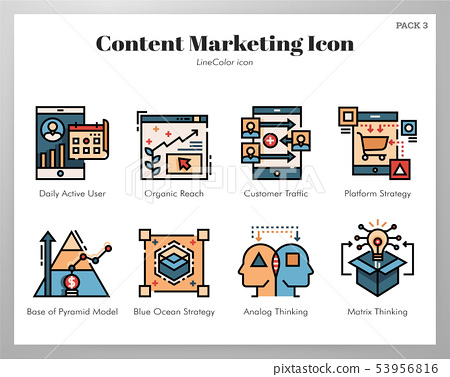 Content marketing icons LineColor pack 53956816