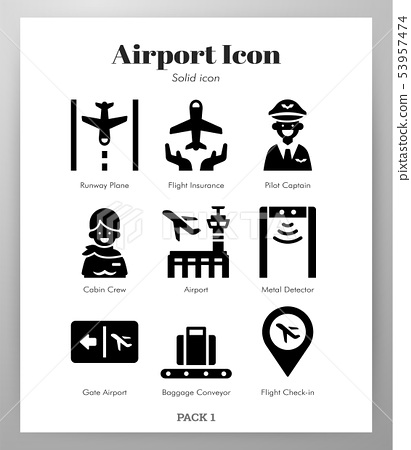 Airport icons Solid pack 53957474