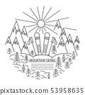 Mountains skiing line icon 53958635