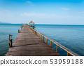 Long wooden bridge in beautiful tropical island 53959188