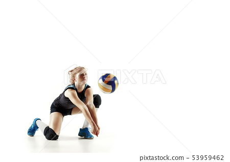 Young female volleyball player isolated on white studio background 53959462