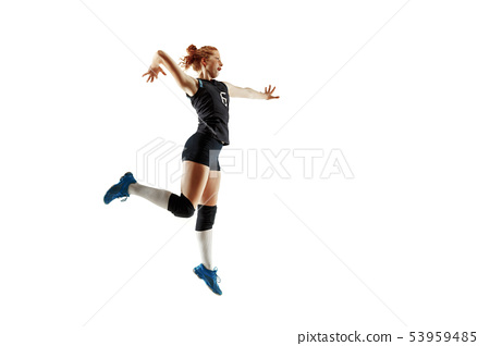 Young female volleyball player isolated on white studio background 53959485