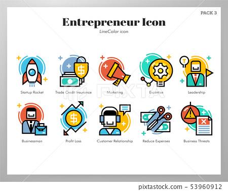 Entrepreneur icons LineColor pack 53960912