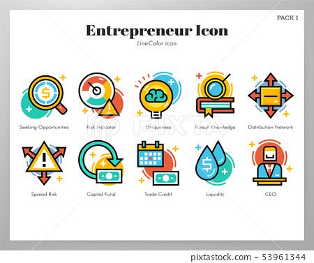 Entrepreneur icons LineColor pack 53961344