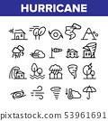 Hurricane Natural Disaster Vector Linear Icons Set 53961691
