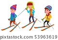 Group Of Character Standing Children Skier Vector 53963619