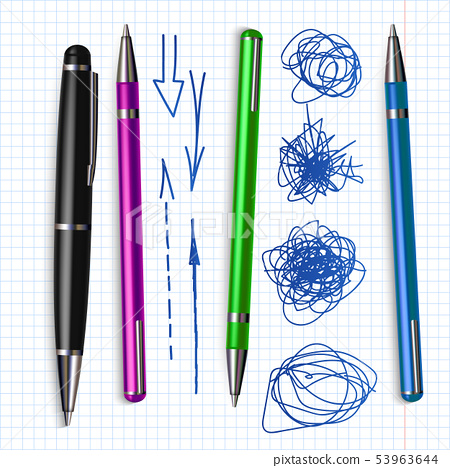 Ballpoint Pen And Hand Drawn Doodle Set Vector 53963644