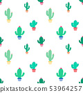 Cute seamless cactus pattern background. 53964257